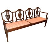 Antique Italian neoclassical walnut settee.