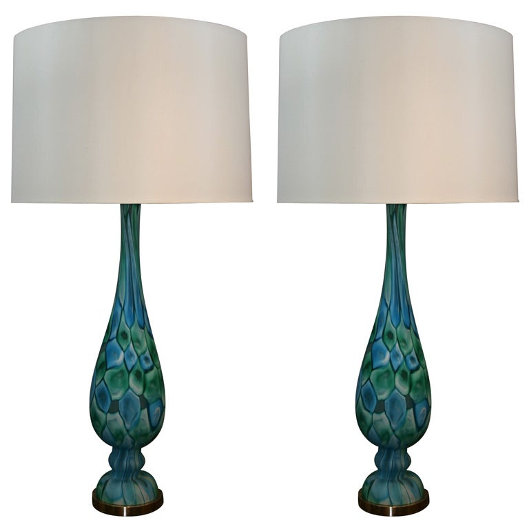Pair of Italian Art Glass Table Lamps by Fratelli Toso