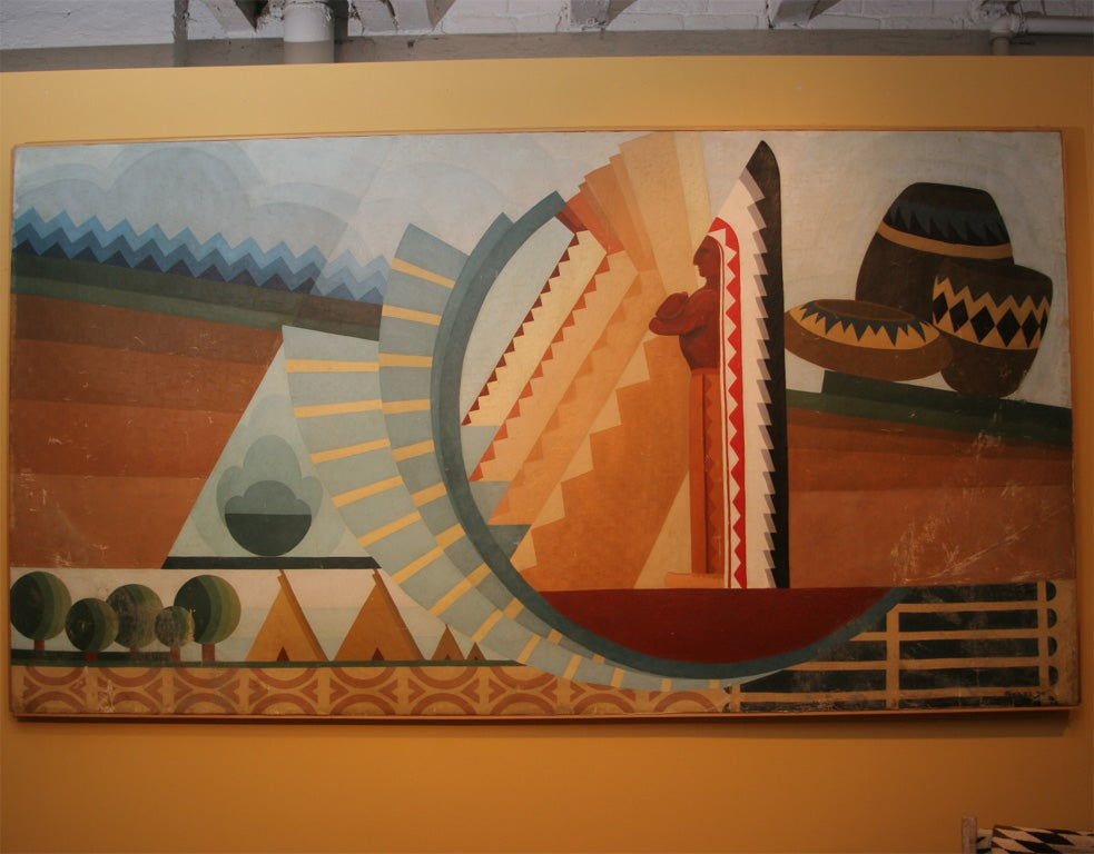 Exceptionally rich colors and composition create a unique art deco period piece as well as an artistic document of American history.  <br />