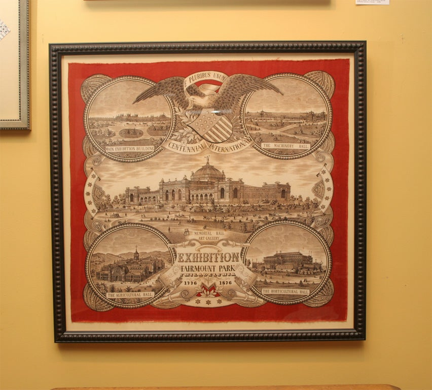Original printed bandanna celebrating the International Centennial held at Fairmont Park, Philadelphia.  Illustrations and inscriptions include:  Main Exhibition Building, The Machinery Hall, Memorial Hall Art Gallery, The Agricultural Hall, The