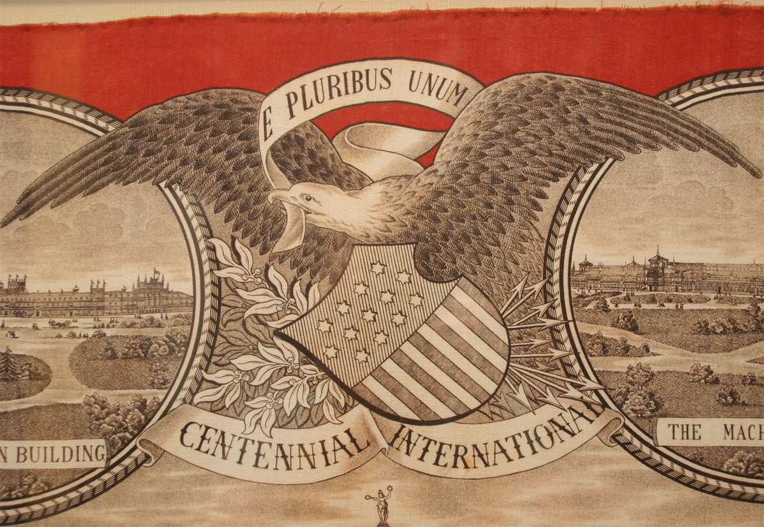 19th Century Commemorative Bandanna:  Centennial International For Sale