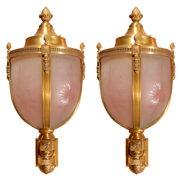 Pair Of Bronze Lanterns With Brackets For Sale At 1stdibs