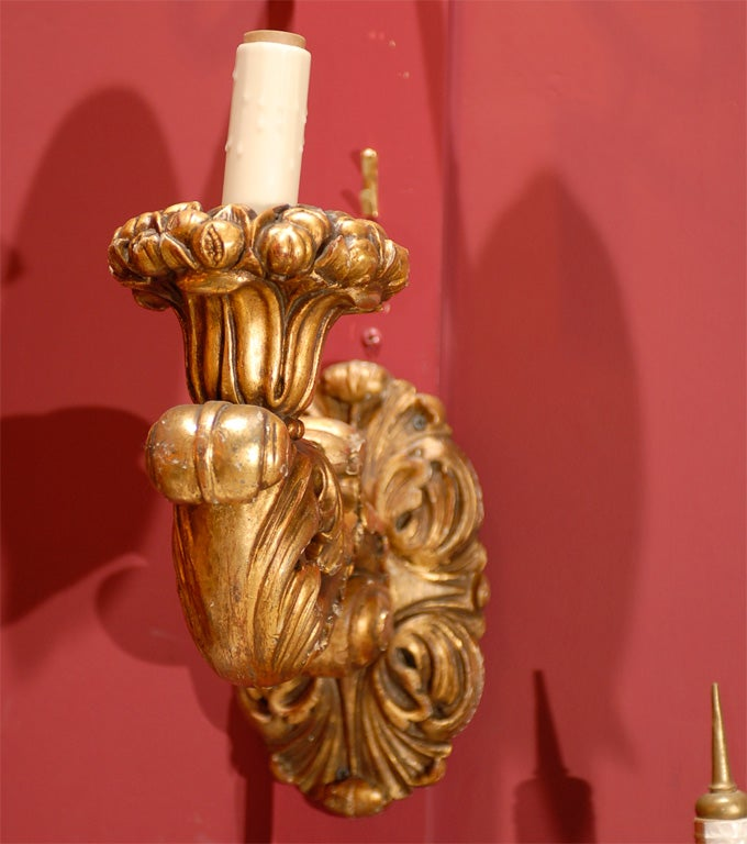 20th Century Pair of single arm gilt wood sconces For Sale