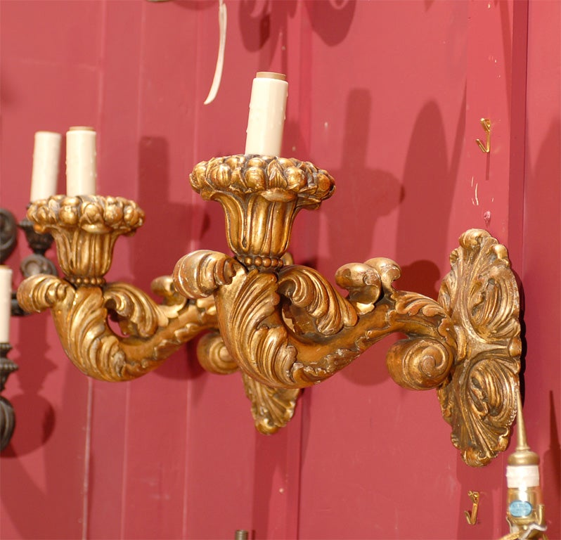 Giltwood Pair of single arm gilt wood sconces For Sale