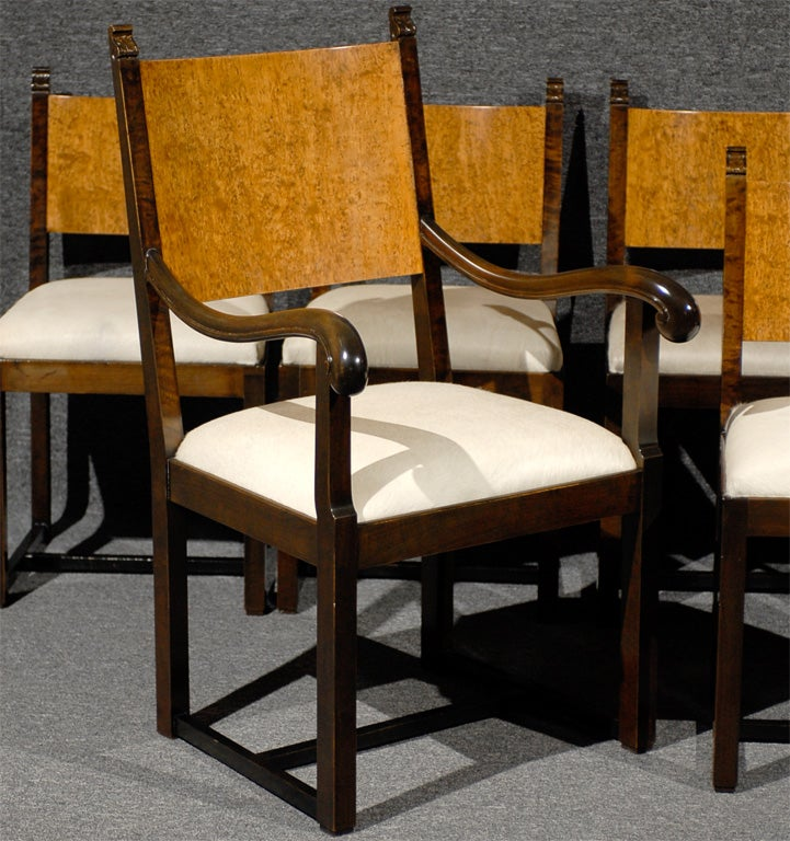 Set of eight art deco dining chairs attributed to eliel for Eliel saarinen furniture