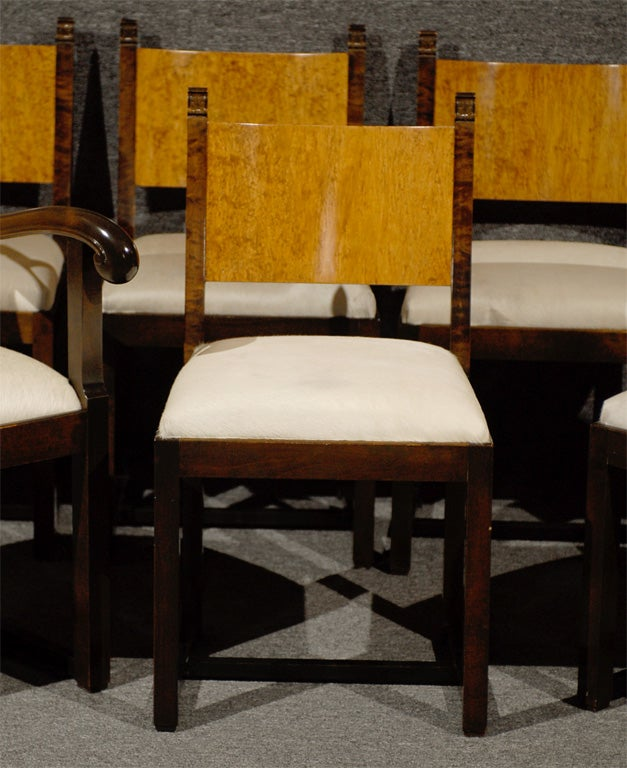 Finnish Set of Eight Art Deco Dining Chairs Attributed to Eliel Saarinen For Sale