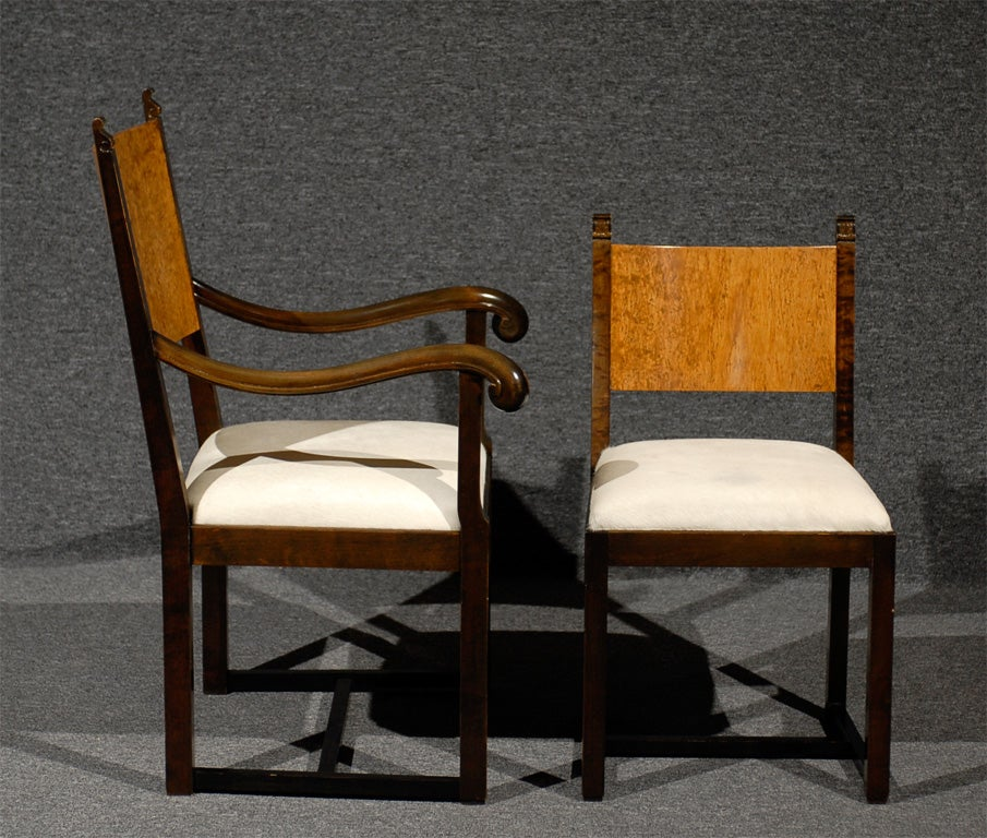 20th Century Set of Eight Art Deco Dining Chairs Attributed to Eliel Saarinen For Sale