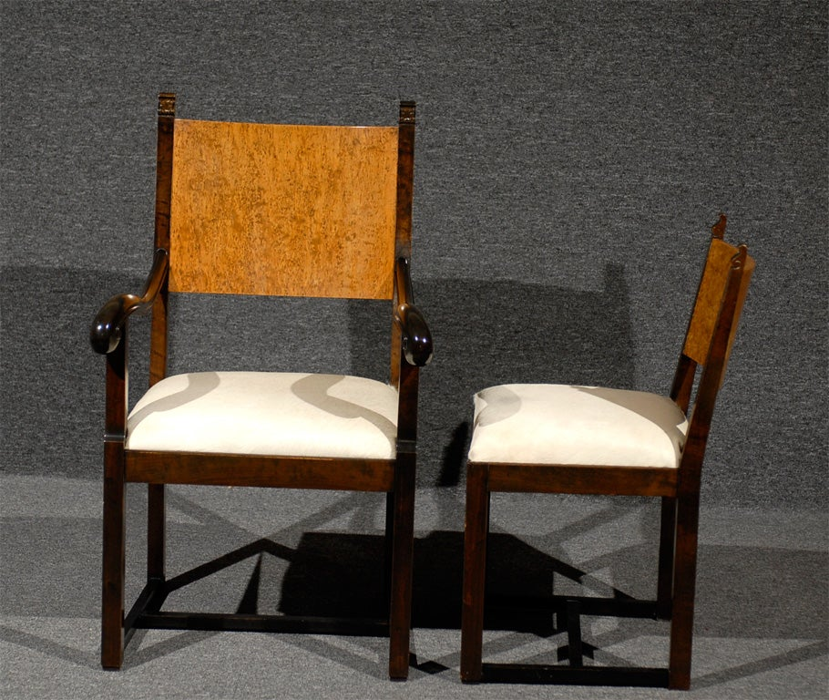 Set of Eight Art Deco Dining Chairs Attributed to Eliel Saarinen For Sale 1