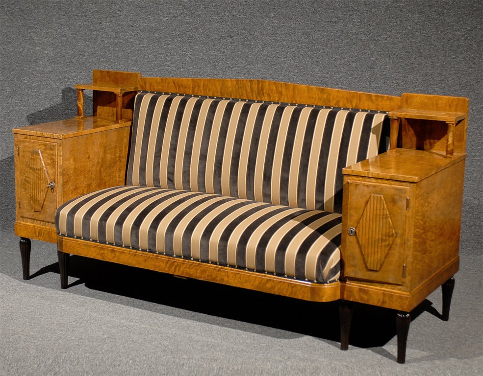 Swedish Karl Johan Biedermeier Revival Settee Sofa At 1stdibs