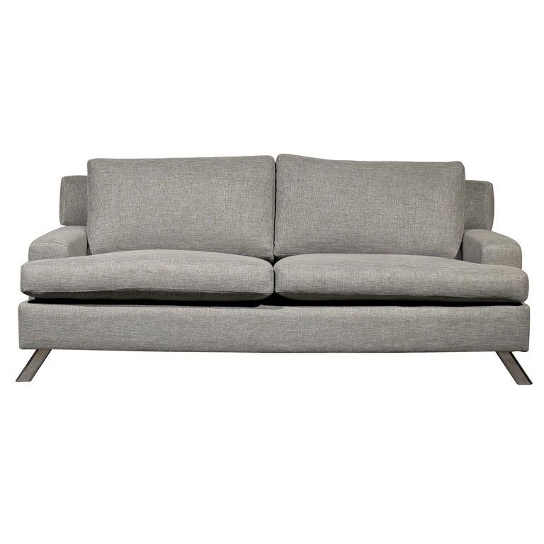 Swedish Modern Gray Sofa With Chrome Legs At 1stdibs