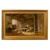 Framed French Oil on Canvas of Sheep Signed Angelvy