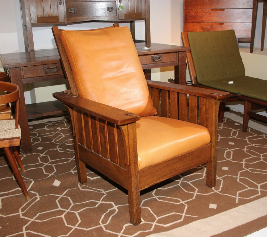 Mission Artsu0026Crafts Style Reclining Morris Chair.Having Full Mortise And  Tenon Construction And Peg Joinery