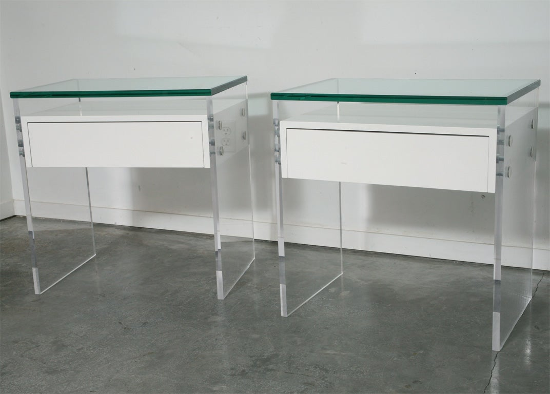 Modern Lucite floating nightstands at 1stdibs
