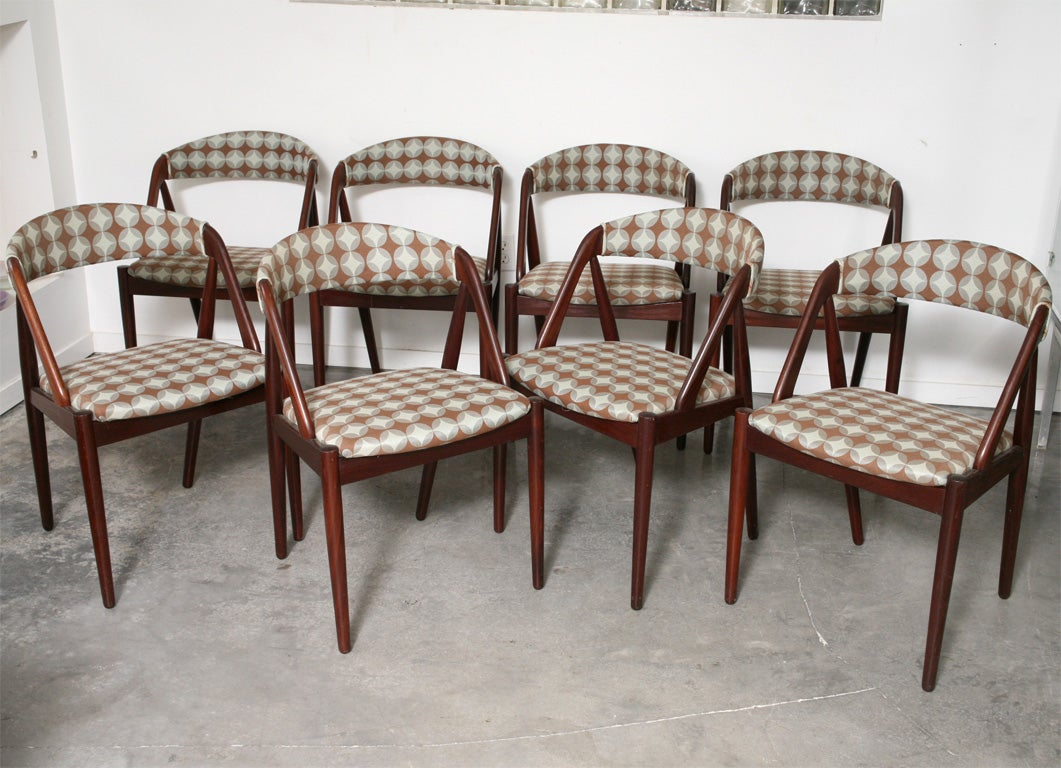 ROSEWOOD DINING CHAIRS SET OF 8 BY KAI KRISTIANSEN At 1stdibs