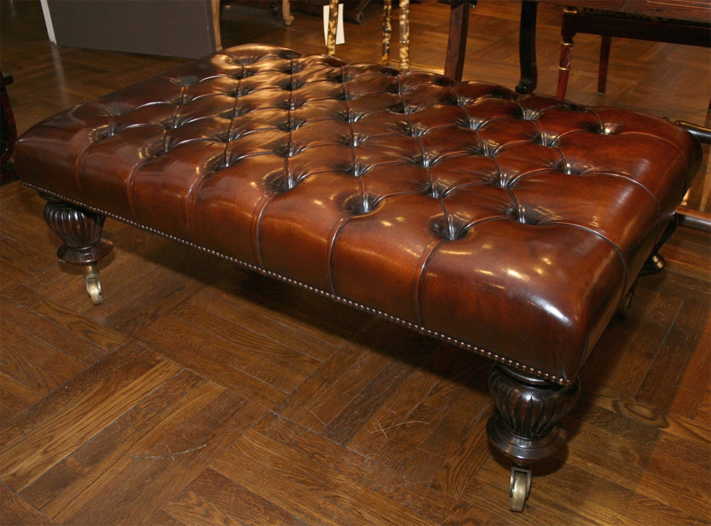 Tufted Leather Ottoman Coffee Table England At 1stdibs