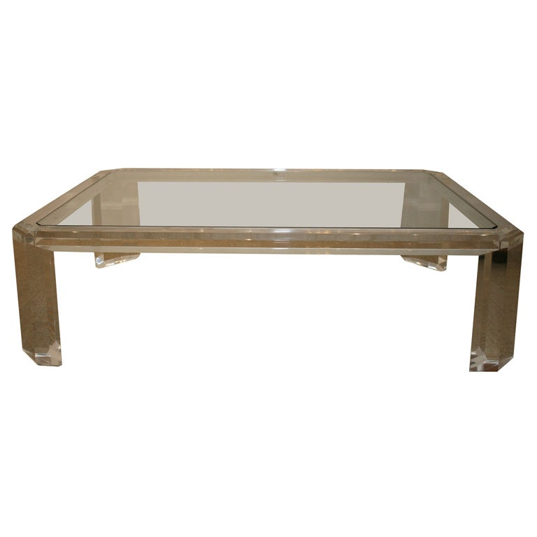 A David Lanoe Lucite And Glass Low Coffee Table At 1stdibs