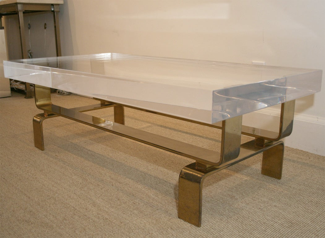 Bronze and Lucite Coffee Table Made to Order at 1stdibs
