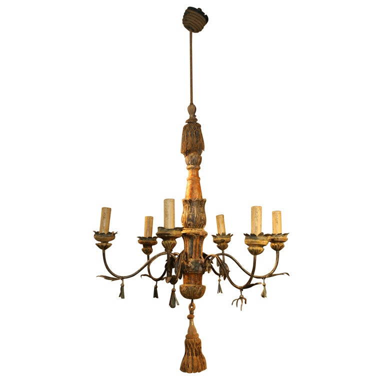 18th c venetian wood and iron chandelier at 1stdibs for Wood pendant chandelier