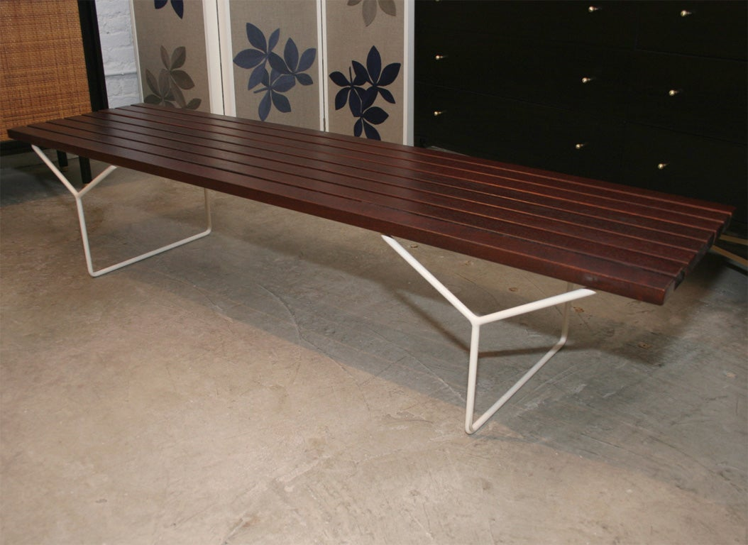 Harry Bertoia Slatted Wood Bench On Tubular Iron Base Knoll At 1stdibs