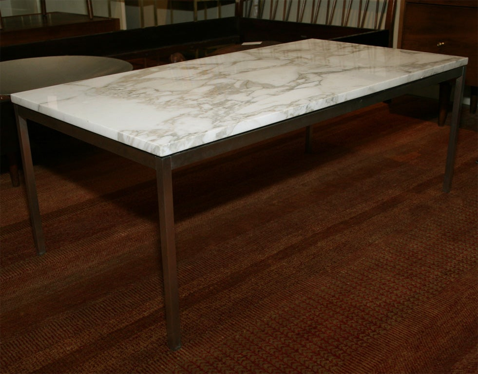 Classic Florence Knoll marble and stainless steel coffee table at