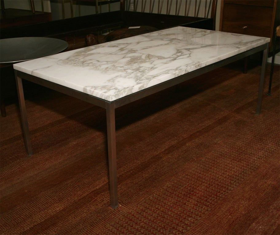 Classic florence knoll marble and stainless steel coffee Florence knoll coffee table