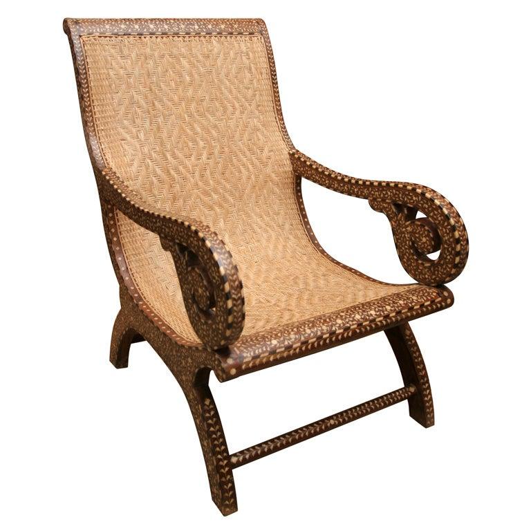 Wood Inlaid Lounge Chair At 1stdibs