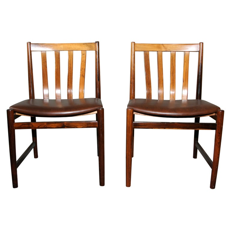 Rosewood Brown Leather Dining Chairs At 1stdibs