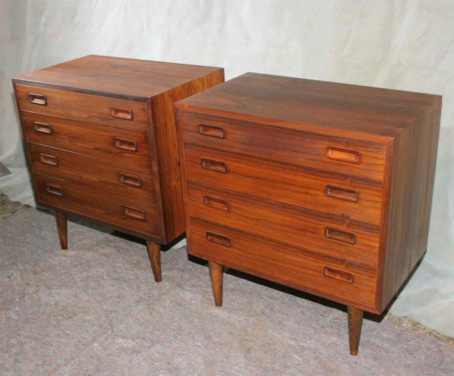 pair of rosewood four drawer nightstand dresser at 1stdibs. Black Bedroom Furniture Sets. Home Design Ideas