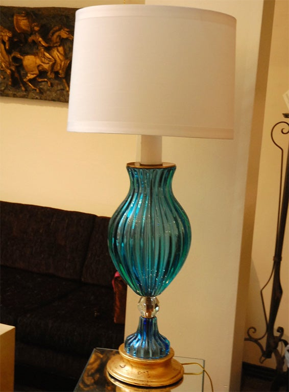 tall blue and clear murano glass lamp with wood base for sale at. Black Bedroom Furniture Sets. Home Design Ideas