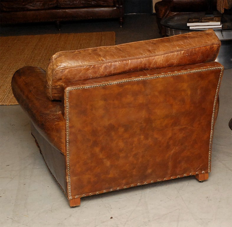 Distressed italian leather club chairs at 1stdibs