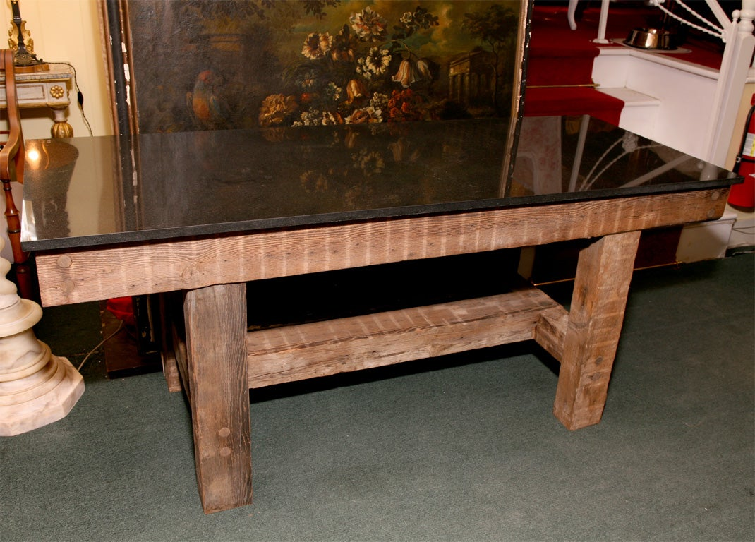 Granite top table rustic dining table at 1stdibs for Granite top dining table