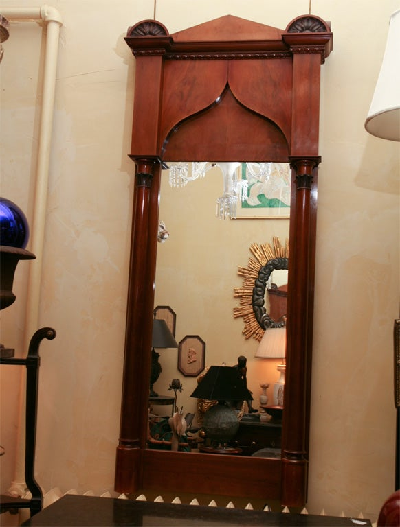 German Biedermeier Classical Pier Mirror In Good Condition For Sale In Hudson, NY