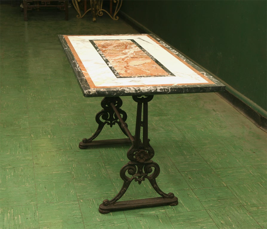19th Century Cast Iron and Specimen Marble Topped Console Table 3