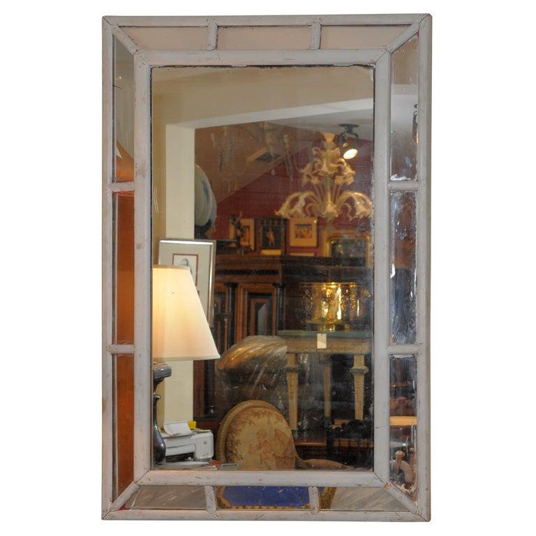 Grey Painted Paneled Mirror