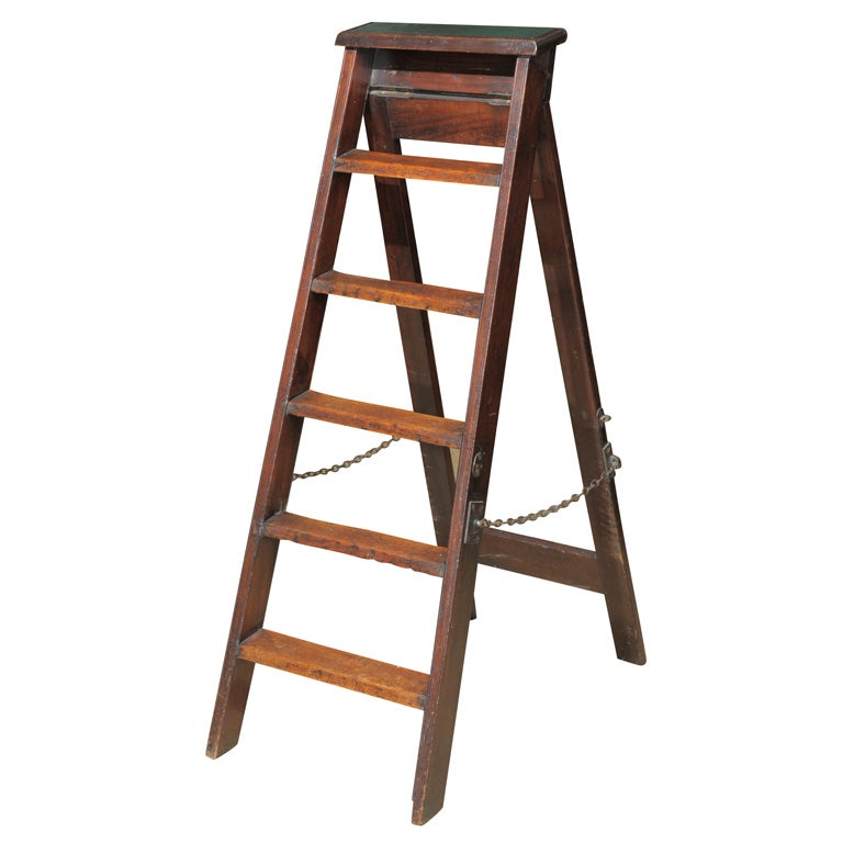 Mahogany Folding Library Ladder 19th C At 1stdibs