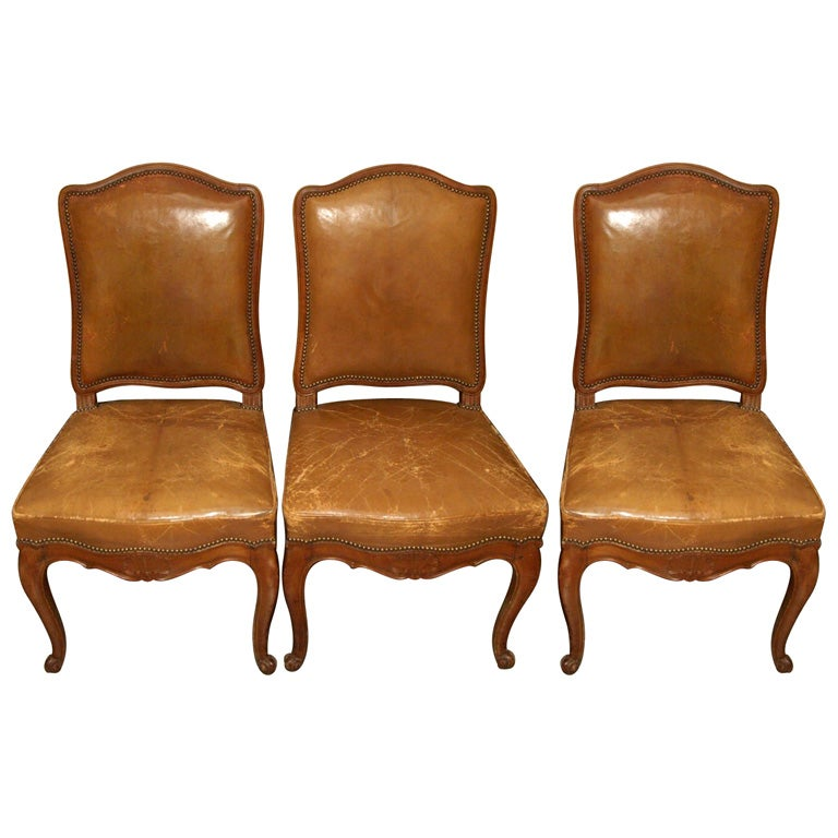 Set of Six Louis XV Style Dining Chairs For Sale