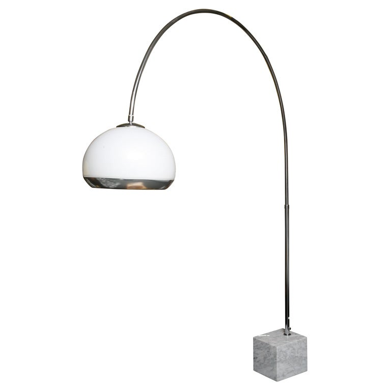 guzzini arc floor lamp with marble base and illuminating. Black Bedroom Furniture Sets. Home Design Ideas