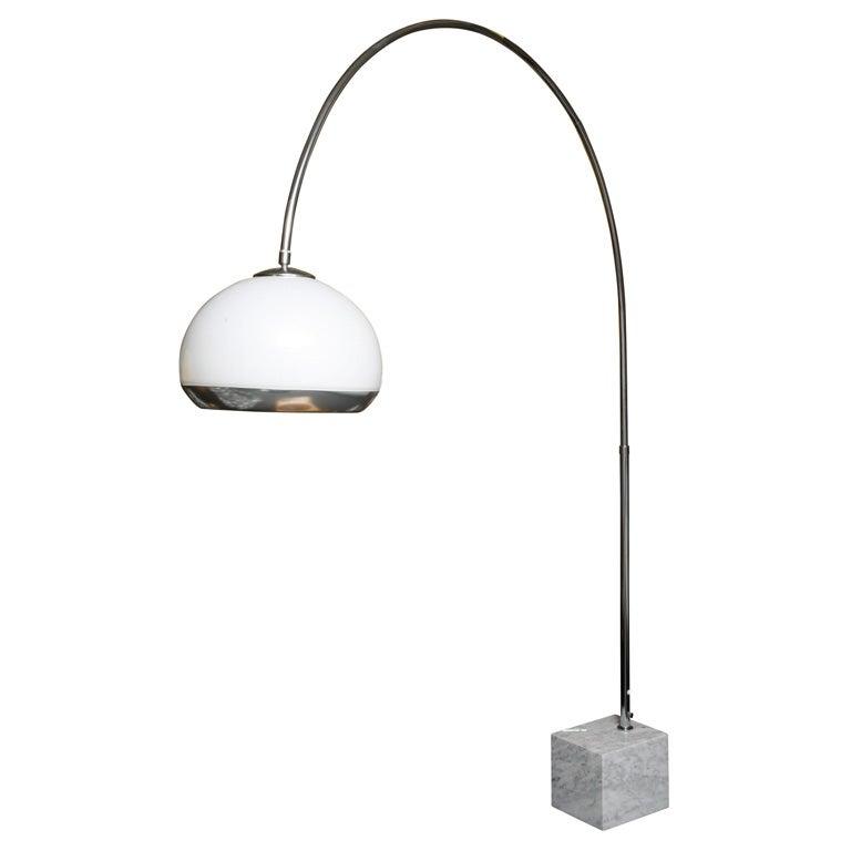 guzzini arc floor lamp with marble base illuminating shade. Black Bedroom Furniture Sets. Home Design Ideas