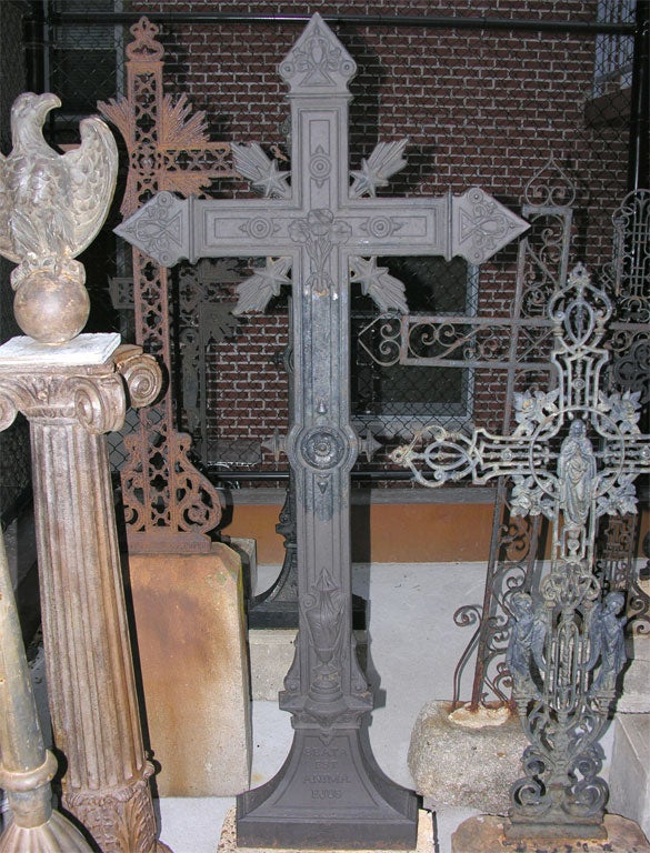 French, cast iron cross circa 1890 in original stone base.