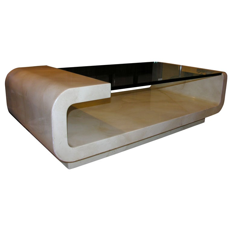 Parchment And Lacquer Coffee Table In The Style Of Karl Springer At 1stdibs