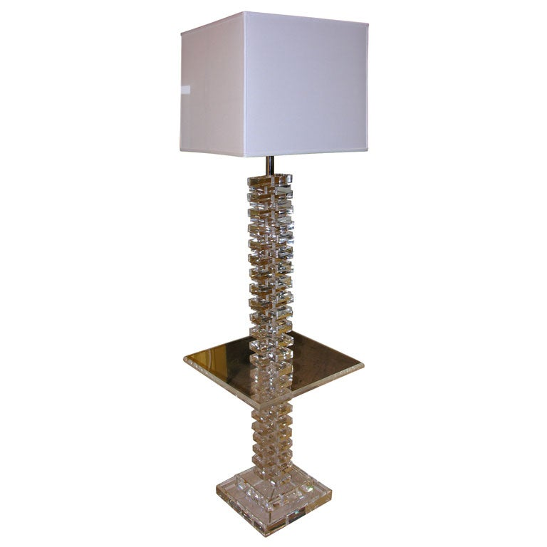 Stacked lucite floor lamp with attached side table at 1stdibs