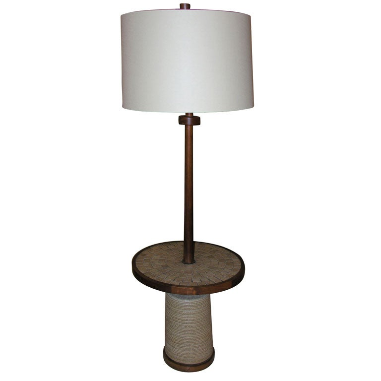 Martz Floor Lamp With Tile Topped Table At 1stdibs