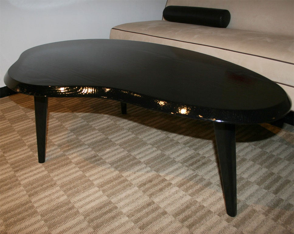 Black Lacquer Kidney Shaped Cocktail Table At 1stdibs