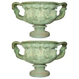 English Cast Iron Pair of Two-Handled Warwick Vases