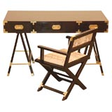 Lacquered Campaign Desk with Chair