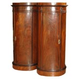 Pair of Danish Tall Oval Mahogany Cabinets