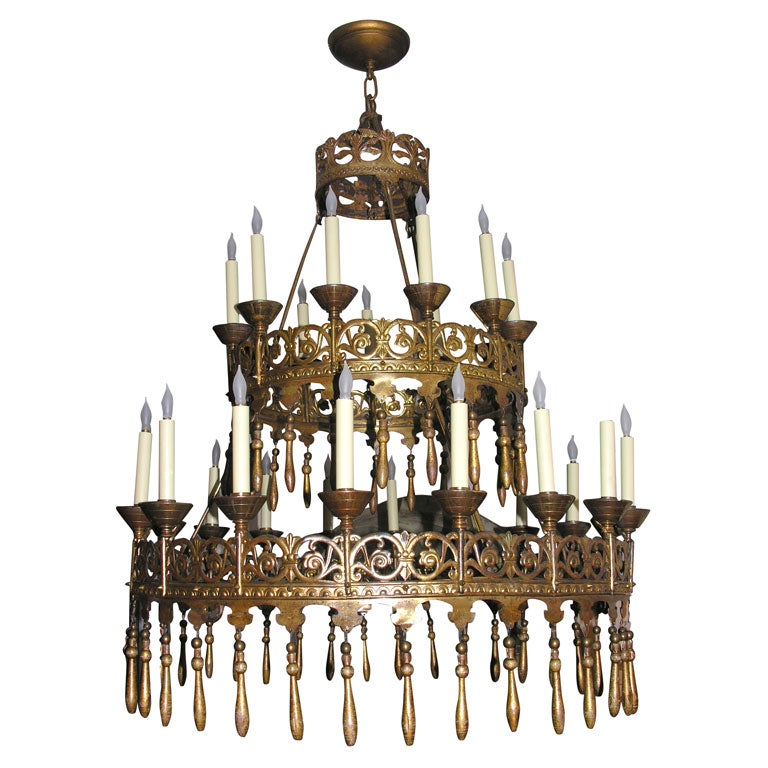 gilt metal two tiered chandelier at 1stdibs