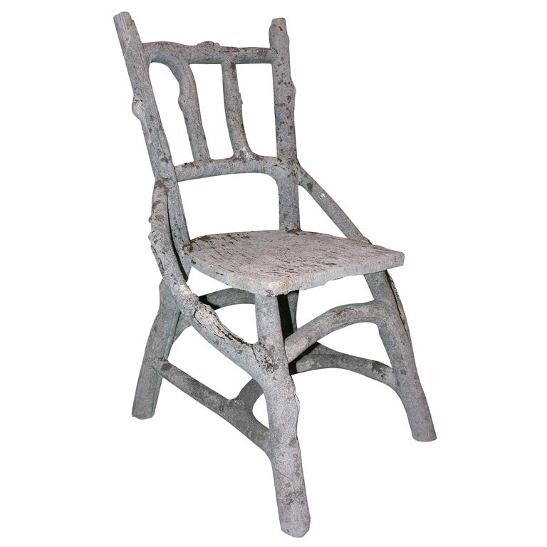 Rare Set Of 4 Faux Bois Chairs At 1stdibs