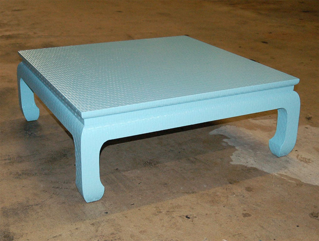 Pale Blue Baker Lacqered Linen Low Table At 1stdibs