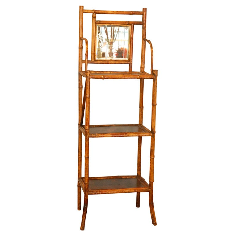 Bamboo etagere with mirror at 1stdibs for Miroir etagere